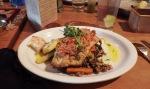 Seared wild Chum Salmon on crab, french lentil wild mushroom risotto with lemon sage cream