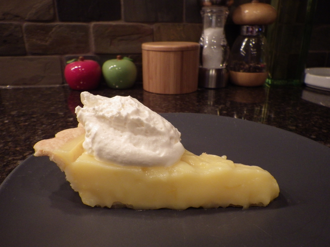 Meyer lemon tart with whipped cream