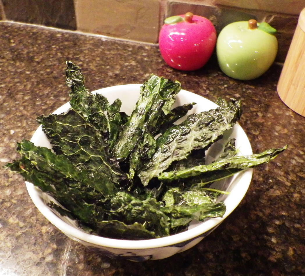 Baked Kale Chips with olive oil and Eurasian sea salt