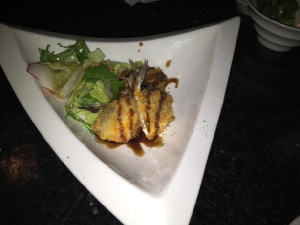 Deep fried breaded horse mackerel served with a sweet soy based vinaigrette