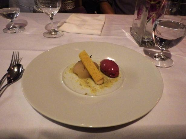Pearginger, blackcurrant, polenta, pistachio