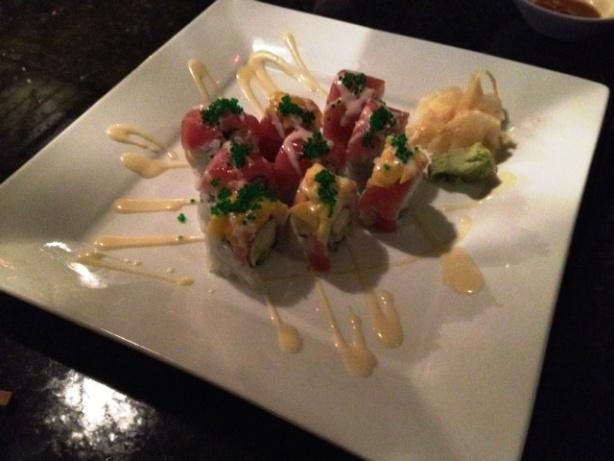 Crab meat, mayo, avocado, red tuna, mango, sweet may, wasabi tomiko
