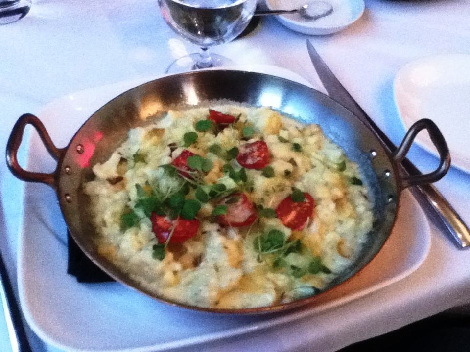 Leek and Spaetzle Cauliflower, white gold provolone, parmesan cheeses, tomato concasse