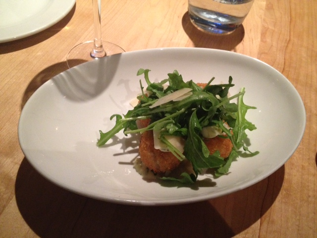 Arancini deep fried breaded risotto balls, herb and garlic aioli, reggiano cheese