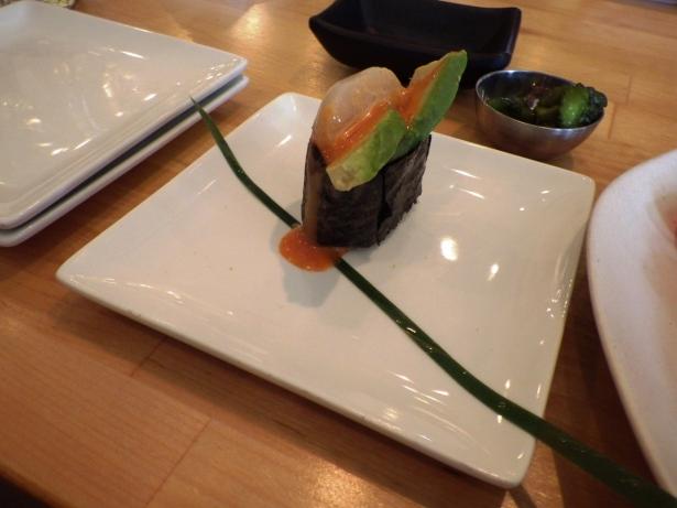 Battleship sushi Scallop with mango and avocado