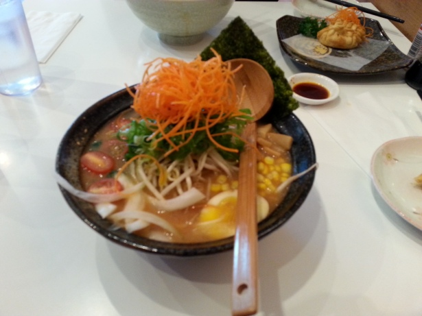 Vegetable ramen with miso soup, tomato, green onion, bean sprout, corn, kan-pyo, carrot, onion, spinach and nori