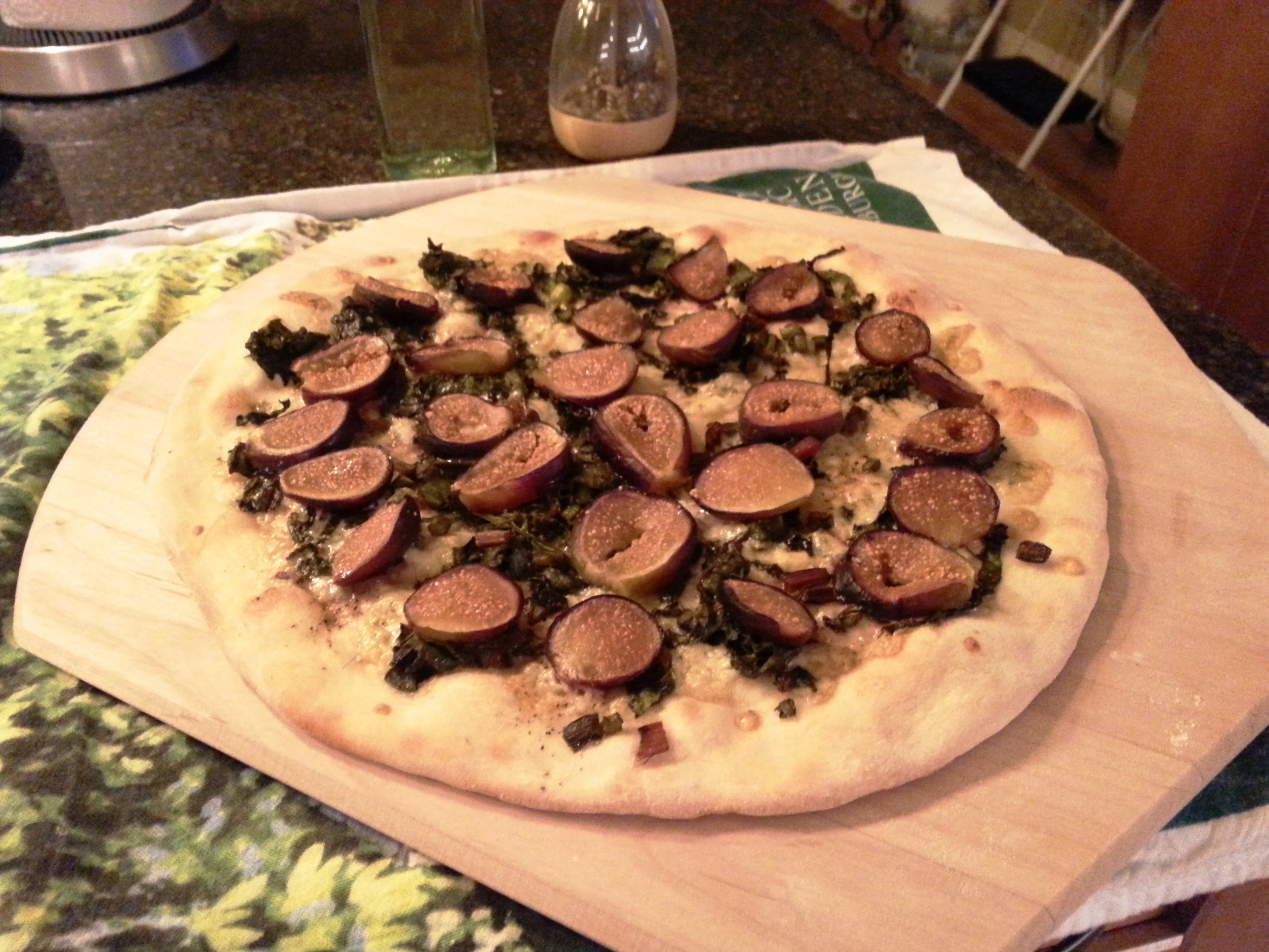 Fig, balsamic chard and blue cheese pizza