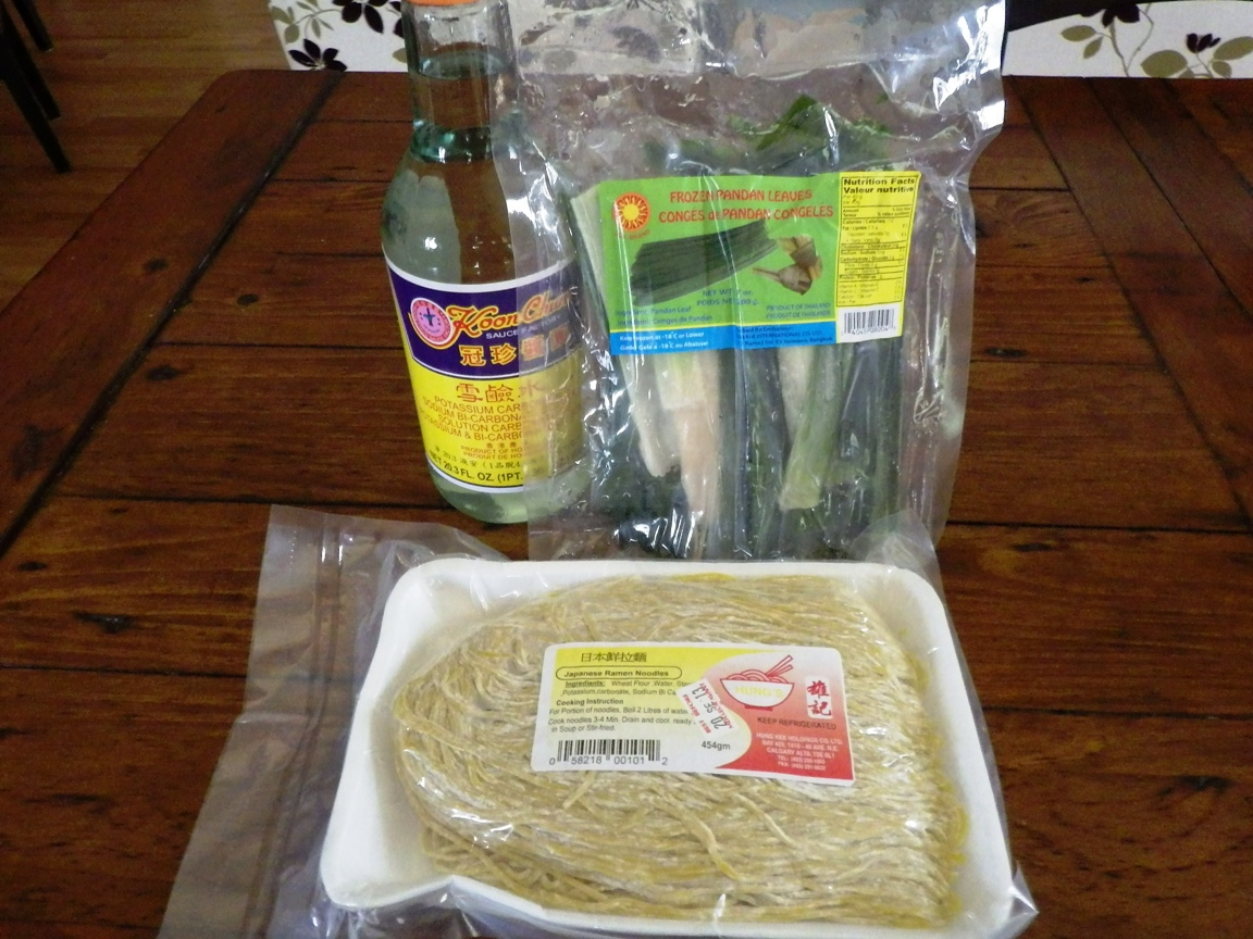 Potassium carbonate, pandanus leaves and fresh ramen