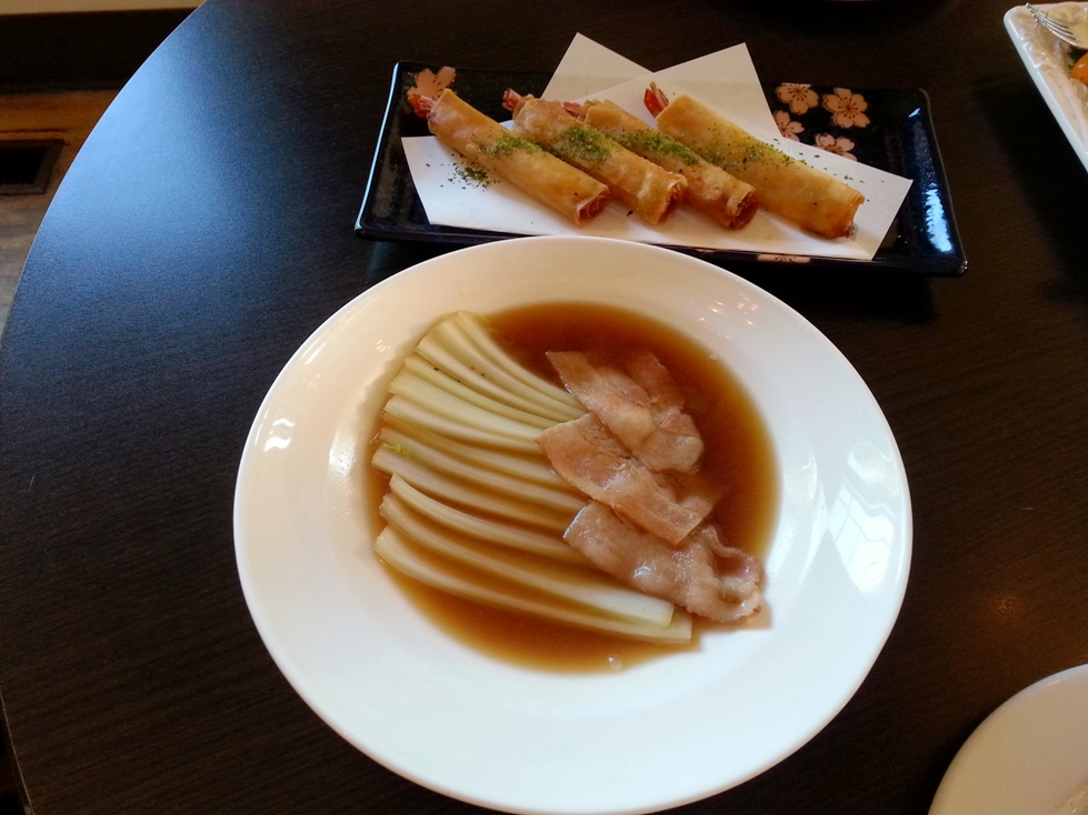 Crispy Shrimp Spring Roll and Nibitashi