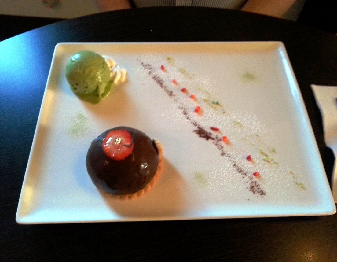 Chocolate Covered Green Tea Mousse with Matcha Ice Cream