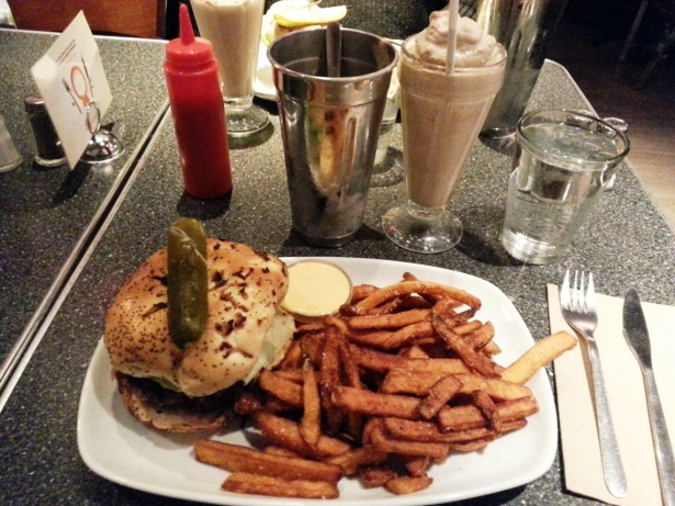 Dairy Lane Burger with Yam Fries and spicy mayo