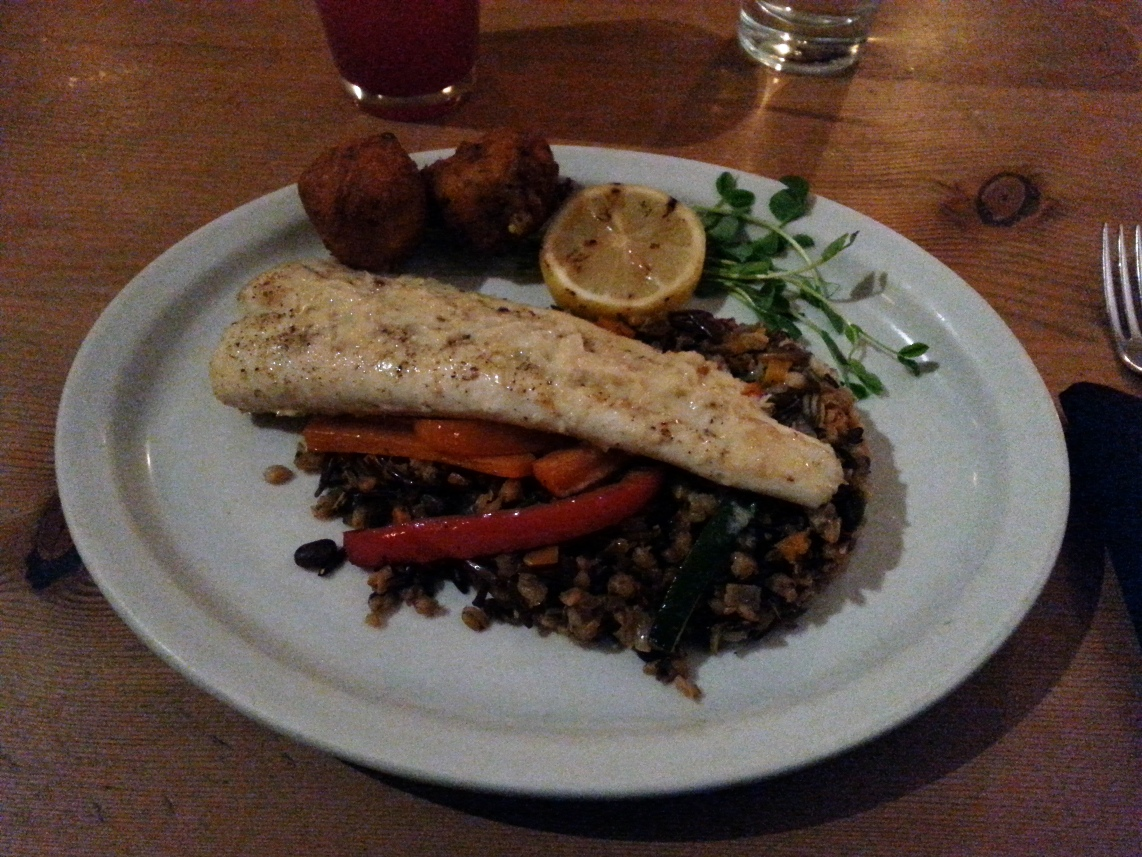 Pan roasted halibut with wild rice and crab fritters