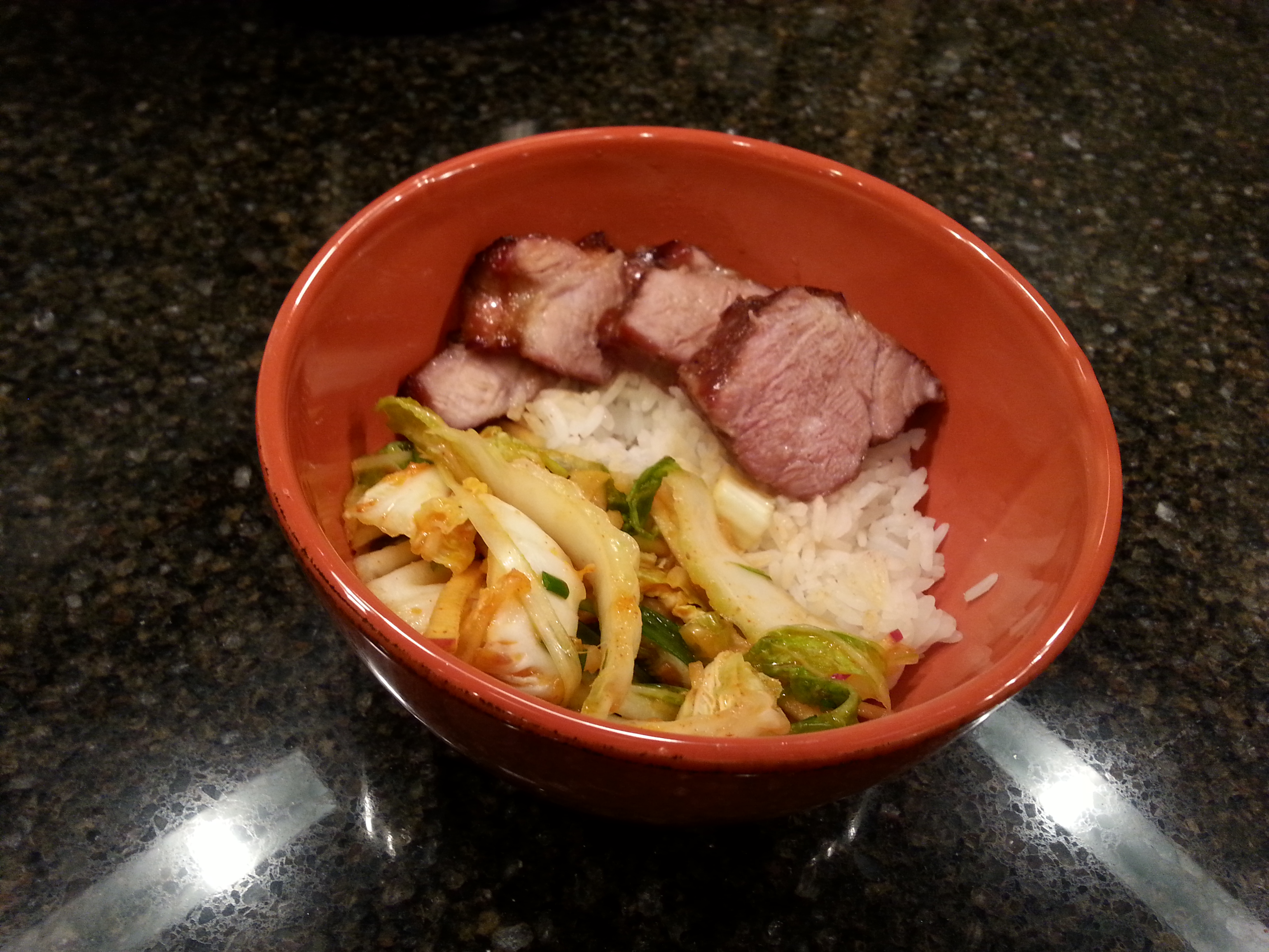Kimchi salad with char siu and jasmine rice