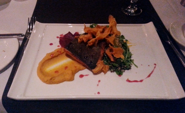 STEELHEAD TROUT cured and smoked with carrot cinnamon purée and orange herb salad