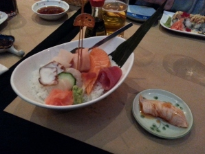Chirashi Sushi and Aburi Salmon