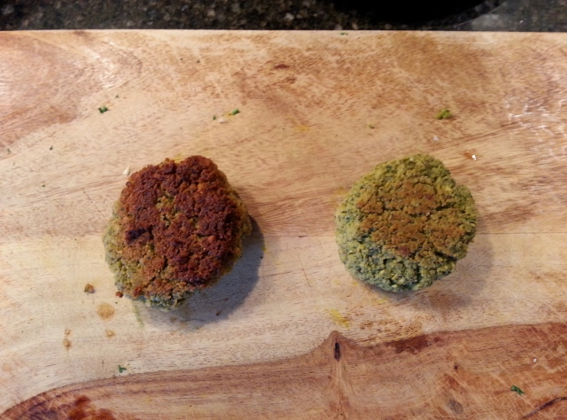 Fried, and baked falafel