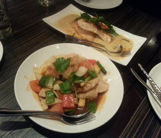Salmon Panang Curry and Sweet and Sour Basa
