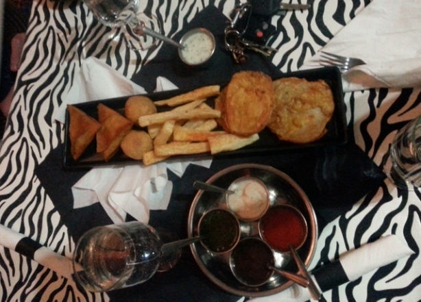 Mbogo Platter and Dipping Sauces