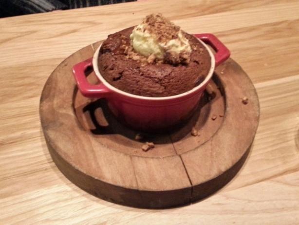 Chocolate Pot pecan brittle, vanilla ice cream