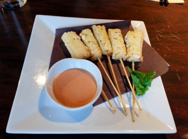 5 Piece Cheese Tempura Cheese skewers in our house made tempura batter. Crisp, light outside, and soft inside. Served with spicy mayo dipping sauce