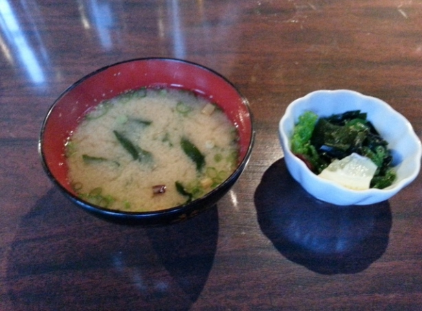 Miso soup and seaweed salad