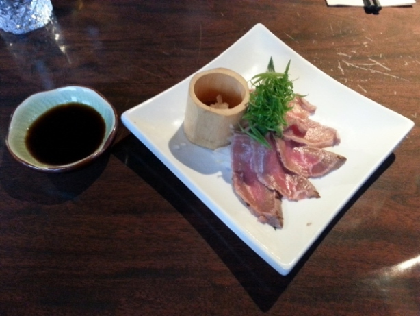 Beef Tataki Rare cooked Alberta Beef served with tamari ponzu Gluten Free