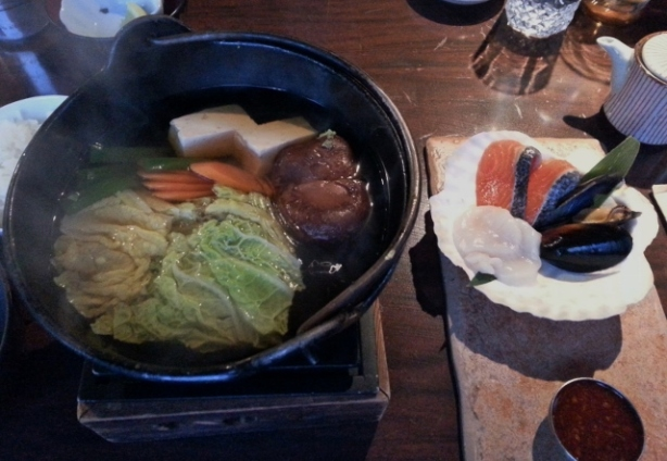 Hot Pot Dinner Set Seaweed salad and miso soup to start, salmon, mussel ,scallop, vegetables, Starch noodle and rice