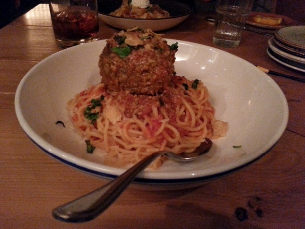 Spaghetti and stuffed meatball