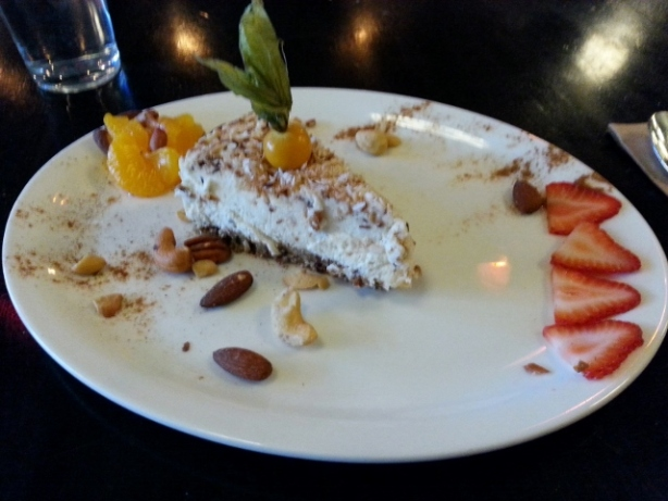 Vegan cheesecake with nuts and cinnamon