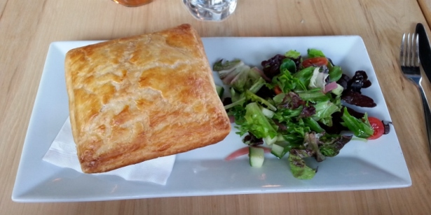 LOBSTER POT PIE poached lobster, atlantic cod, peas, shellfish gravy, house salad