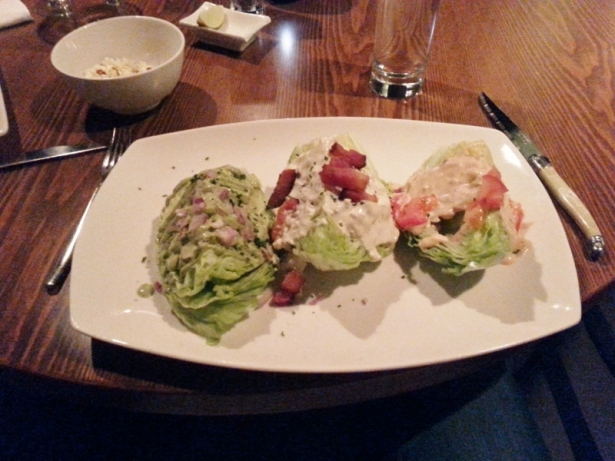 Modern Wedge Trio with 1000 Island & tomato, blue cheese and bacon, green goddess and red onion